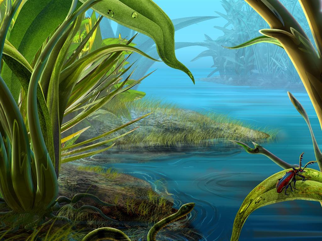 Colorido fondo de pantalla pintados a mano ecología del paisaje 2