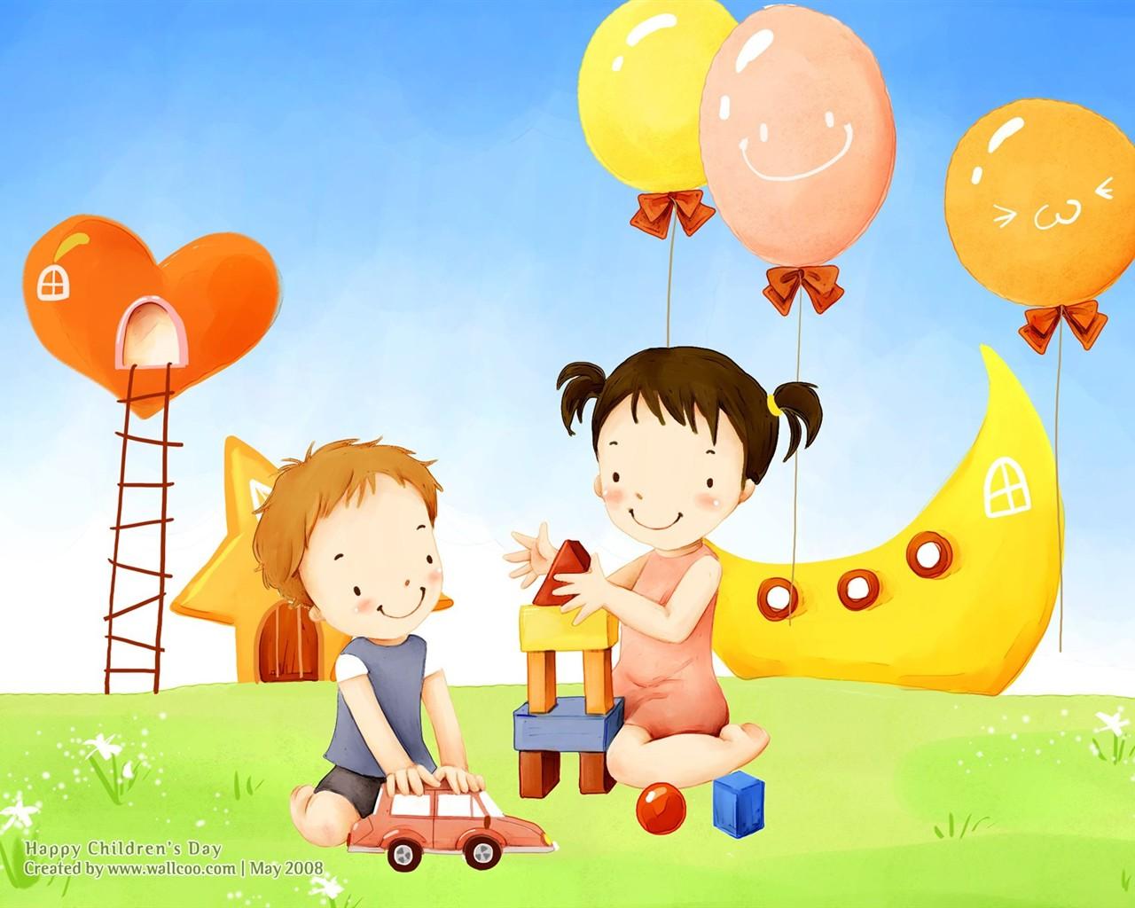 Bonito ilustrador del Día del Niño fondo de pantalla #27 - 1280x1024