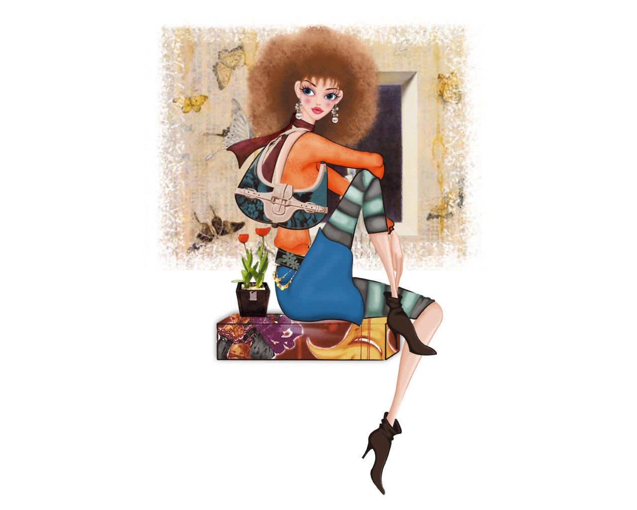 Vector Style Fashion Women Wallpaper 33 1280x1024