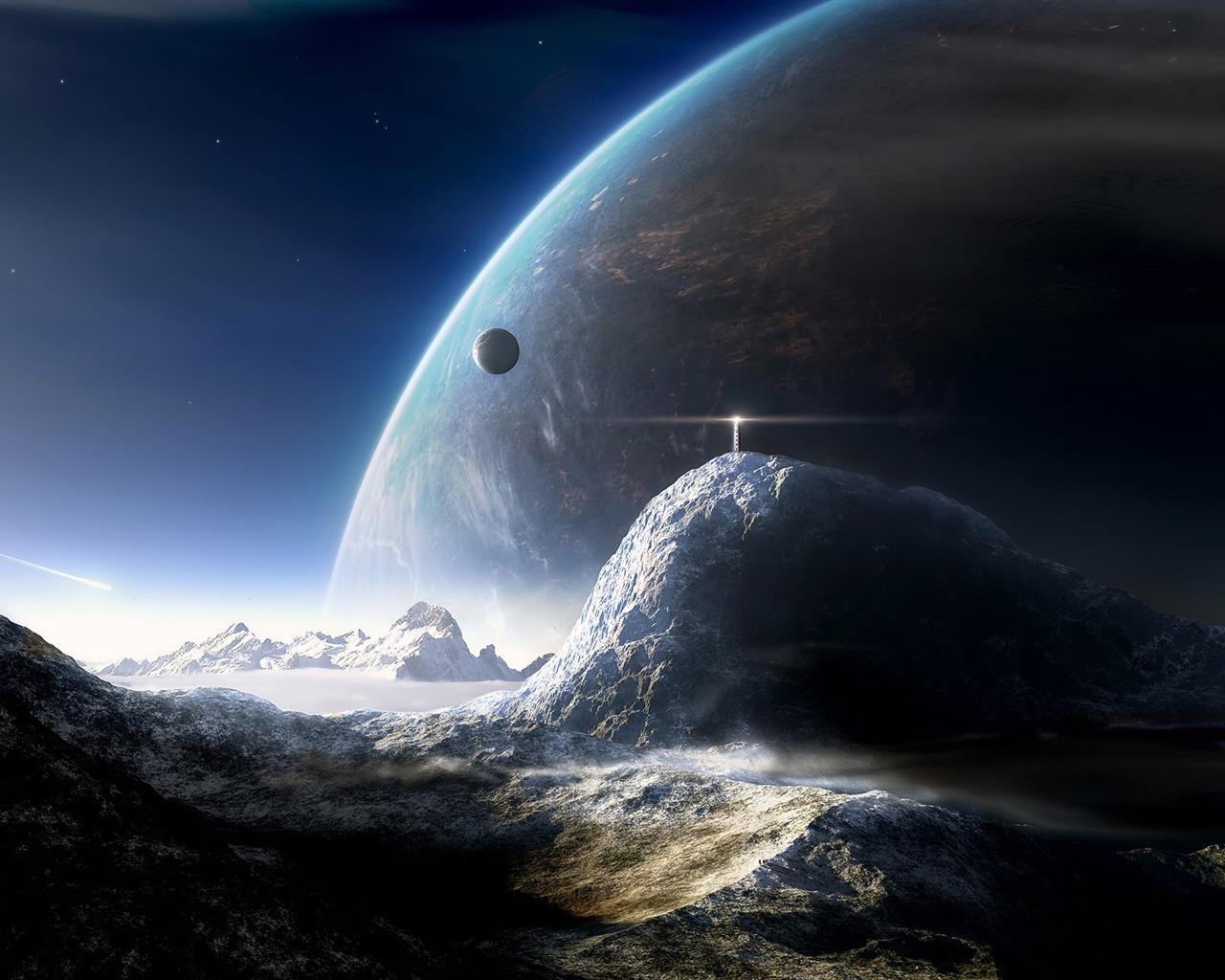 灯台が見える宇宙の画像