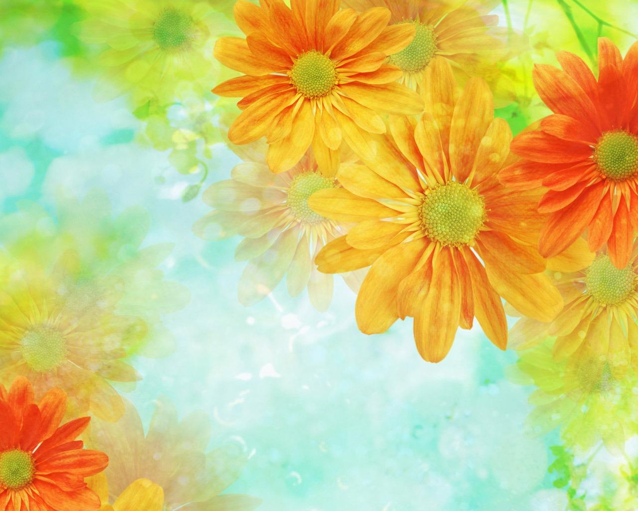 ファンタジーCGを背景の花の壁紙 #2 - 1280x1024 壁紙ダウンロード - ファンタジーCGを背景の花の