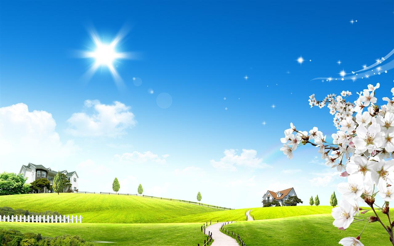 Photoshop fondos de escritorio de paisaje soleado de verano 1 9 1280x800 fondos de descarga - Fondos de escritorio verano ...