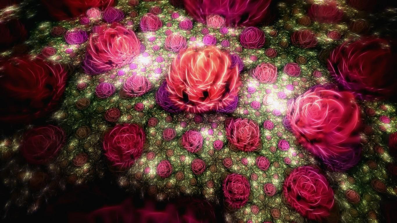 flores 9 1366x768 descripción 3d sueño resumen papel tapiz de flores ...