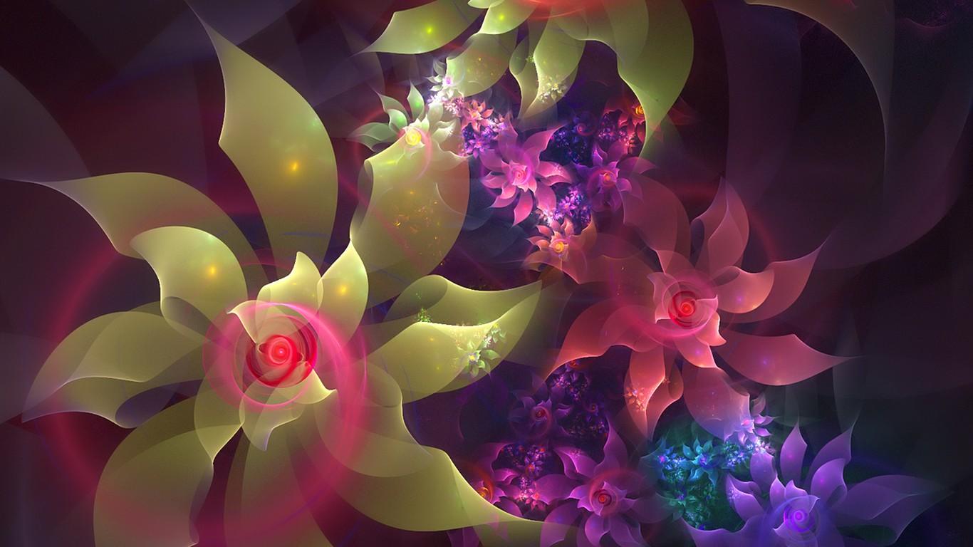 3d梦幻抽象花朵壁纸12 - 1366x768