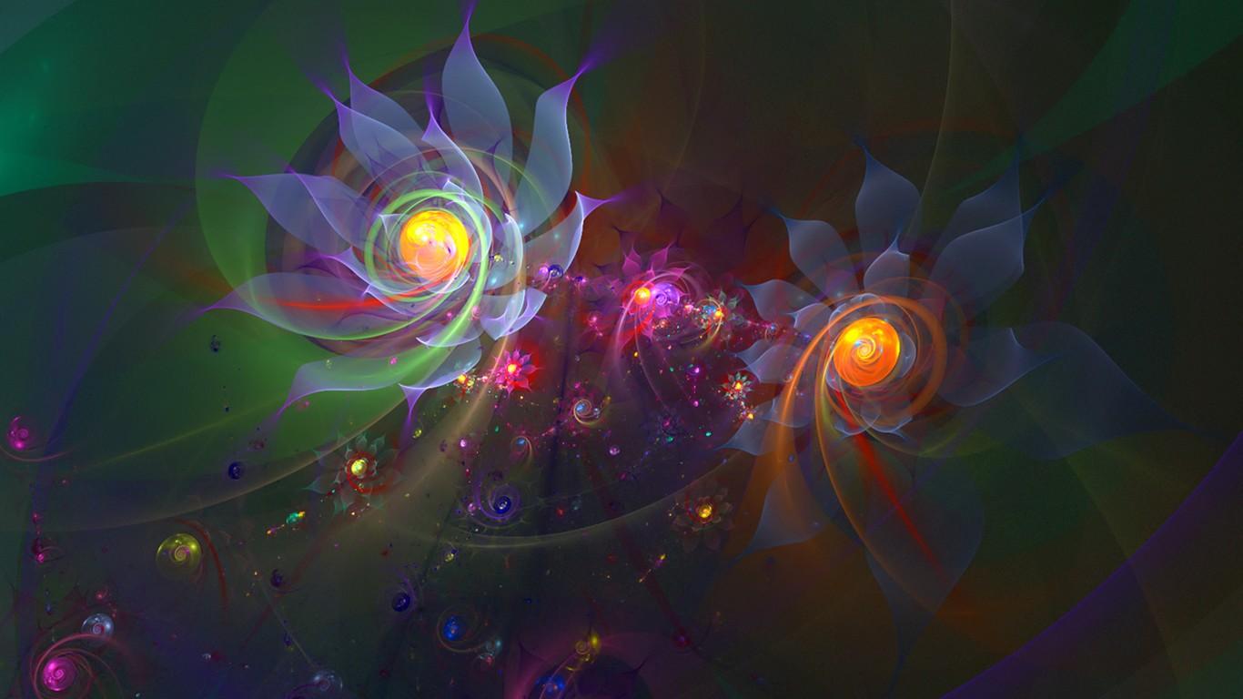 3d r ve abstrait fond d 39 cran de fleurs 24 1366x768 for Fond ecran 3d gratuit