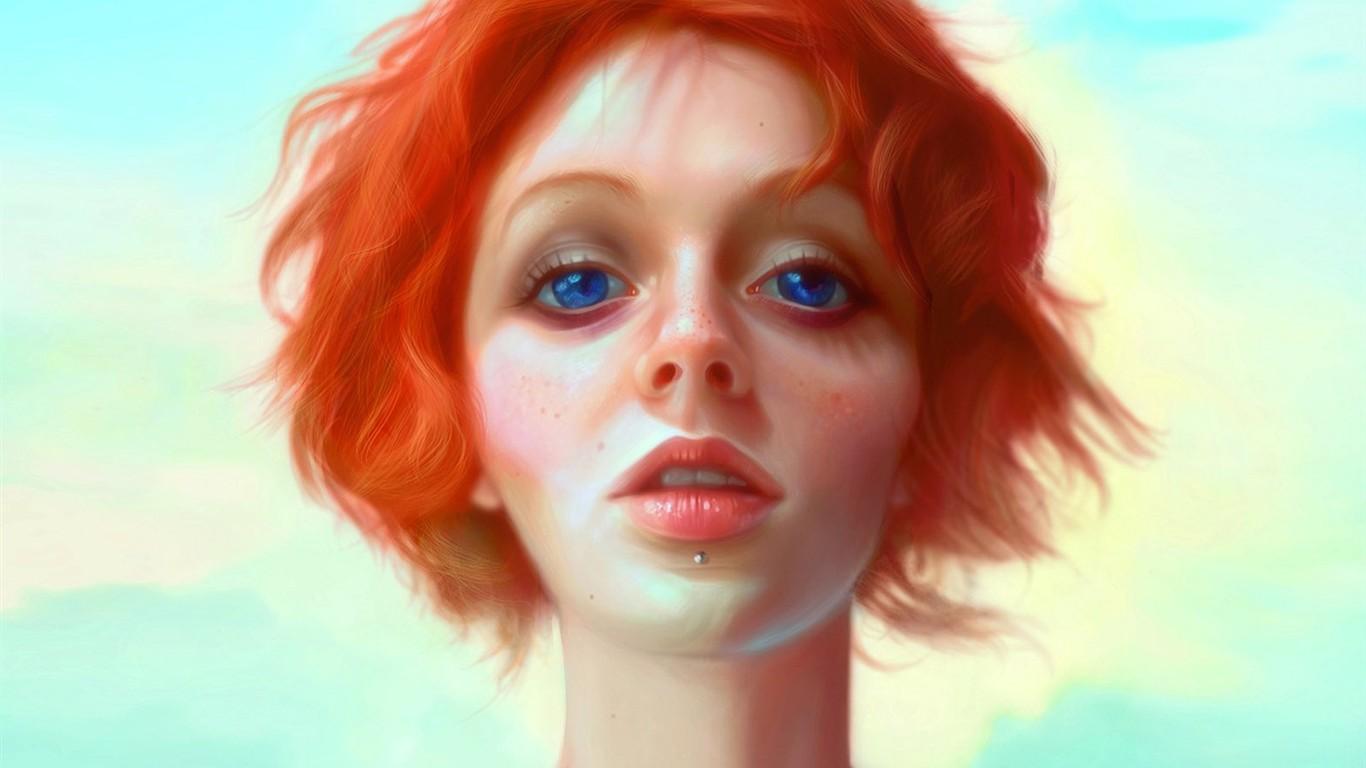 Рисунок рыжая девушка