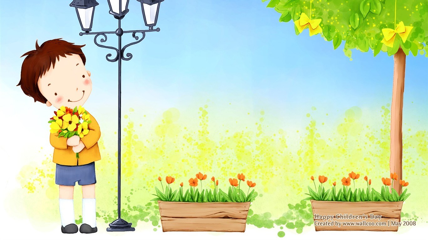 Lovely Children's Day wallpaper illustrator #12 - 1366x768
