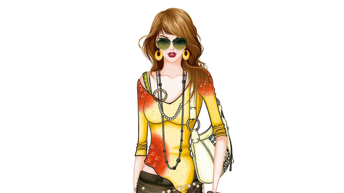 Vector style fashion women wallpaper 31 1366x768 for Fashion style wallpaper