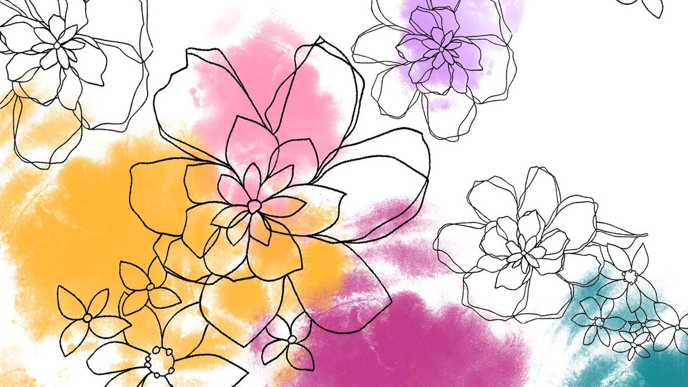 Floral design illustration papier peint #5 - 1366x768 Fond d'écran Télécharger - Floral design ...