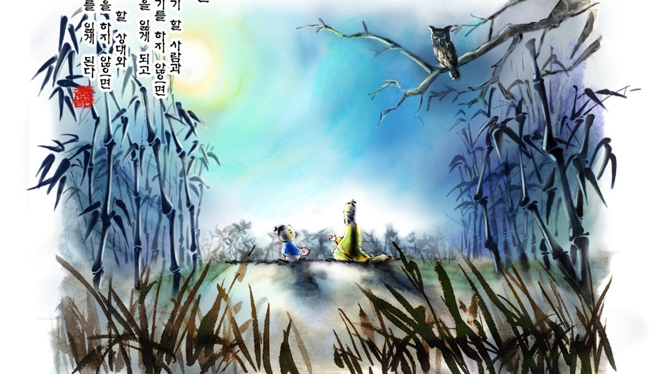South Korea Ink Wash Cartoon Wallpaper 54 1366x768 Wallpaper