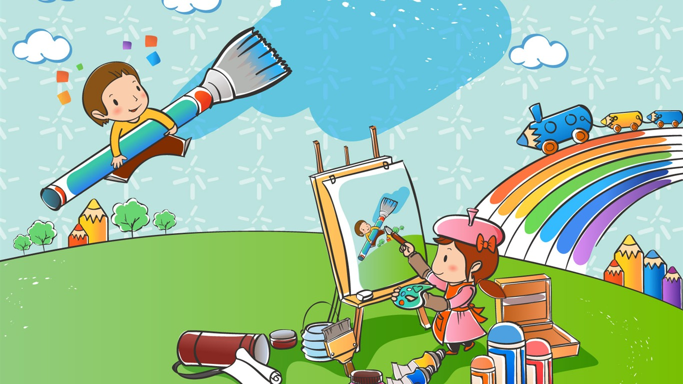 Vector Love cartoon Wallpaper : Vector cartoon childhood wallpaper (1) #20 - 1366x768 Wallpaper Download - Vector cartoon ...
