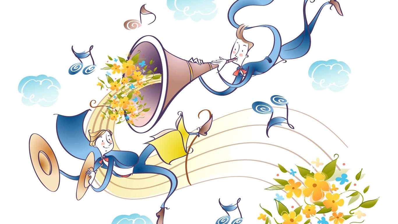 Vectorial De Dibujos Animados M&250sica 25  1366x768
