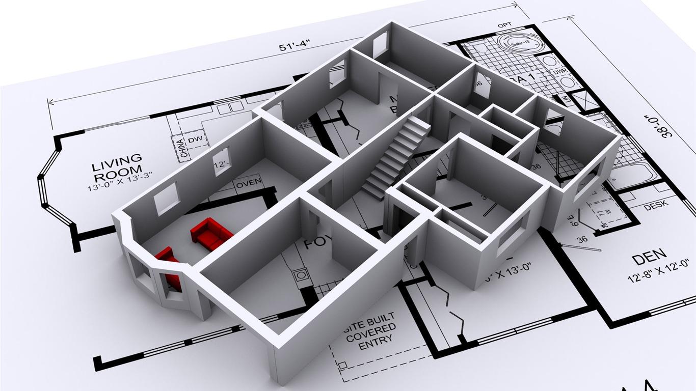 Design wallpaper 1 8 1366x768 description 3d architectural design