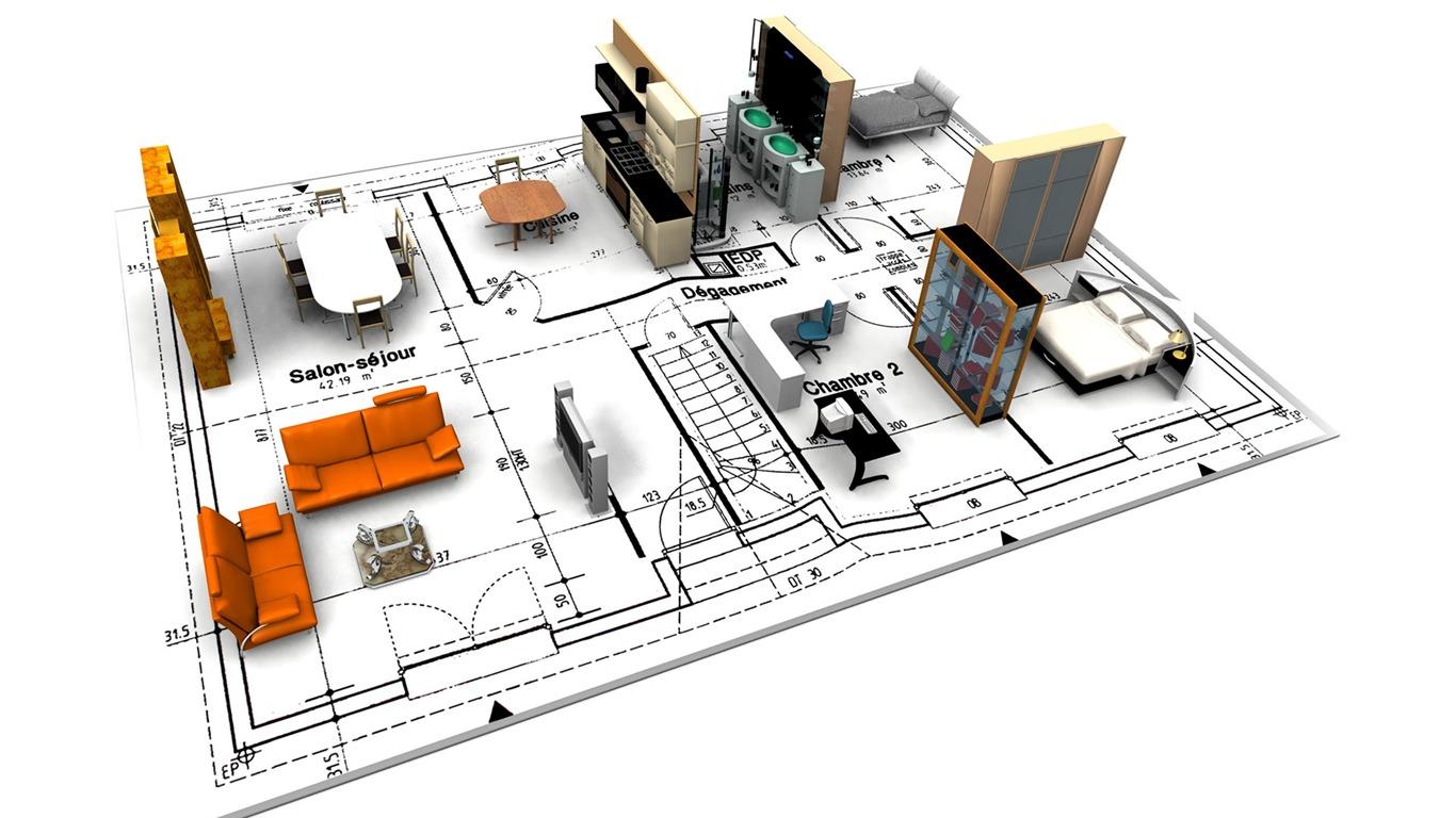 3d architectural design wallpaper 2 3 1366x768 for Architectural designs com