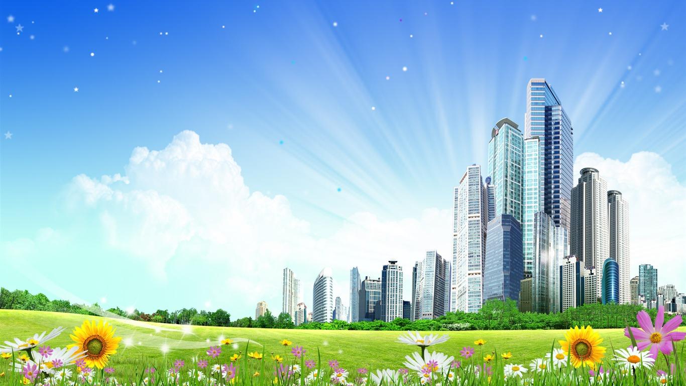Photoshop fond d'écran paysage d'été ensoleillée (2) #4 - 1366x768