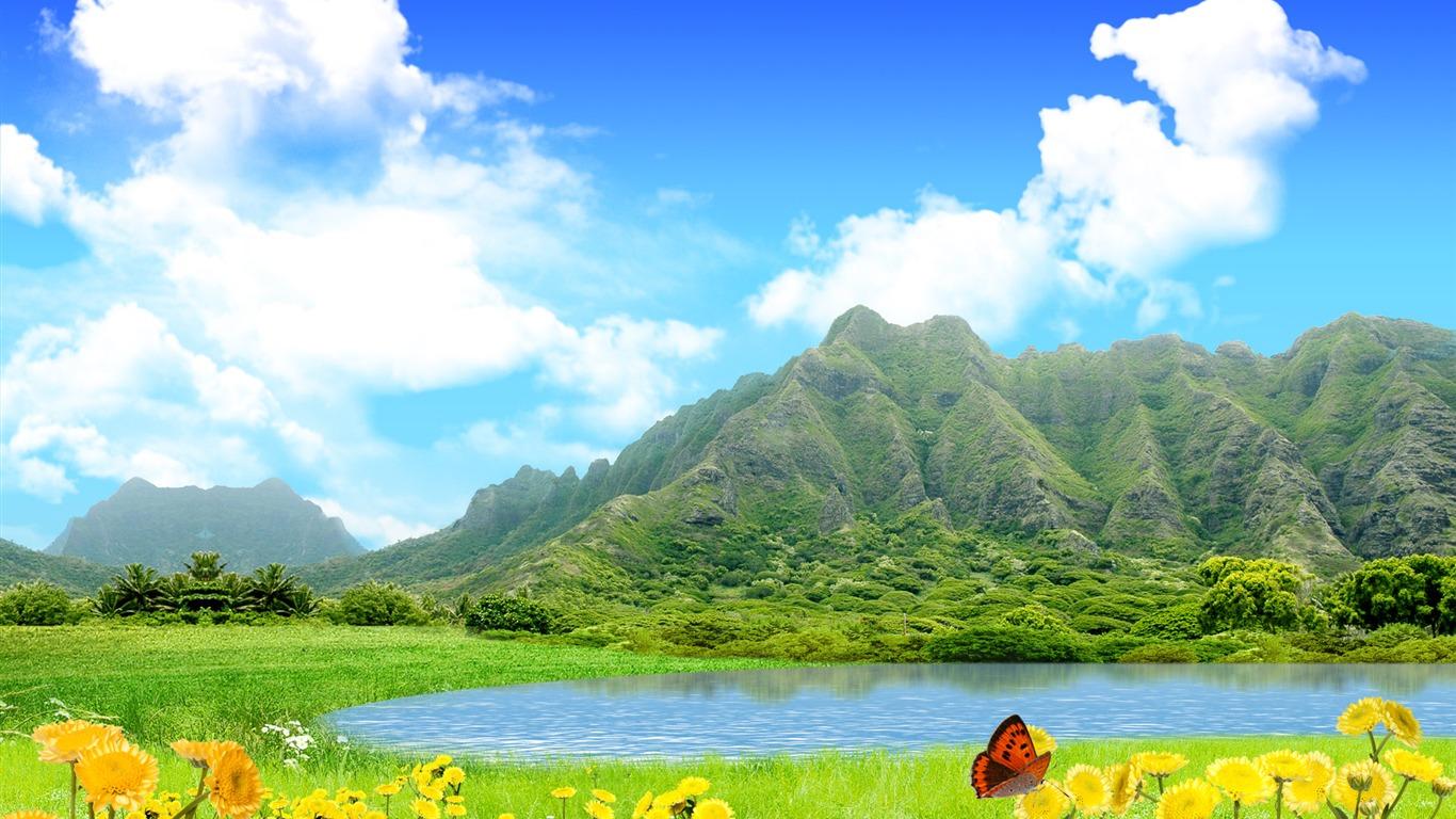 Photoshop fond d 39 cran paysage d 39 t ensoleill e 2 14 for Fond ecran ete paysage
