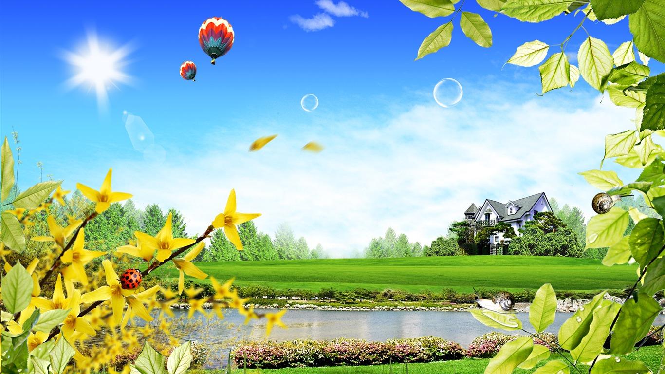 Photoshop fond d 39 cran paysage d 39 t ensoleill e 2 17 for Ete wallpaper