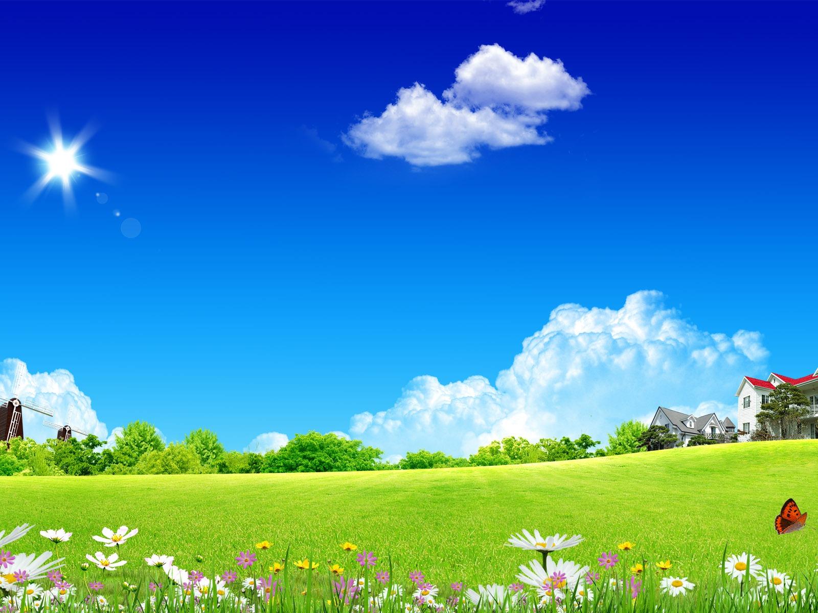 Photoshop fond d 39 cran paysage d 39 t ensoleill e 2 3 for Fond ecran ete hd