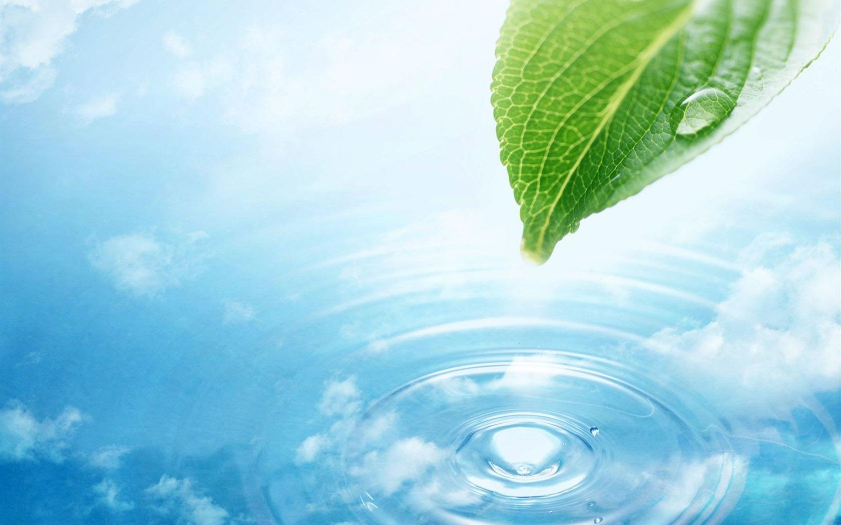 Watermark Fresh Green Leaf Wallpaper 1