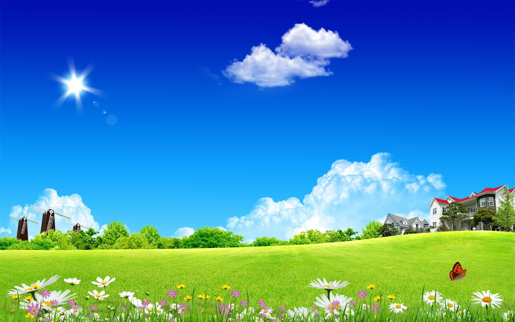 Photoshop fond d 39 cran paysage d 39 t ensoleill e 2 3 for Image ete fond ecran