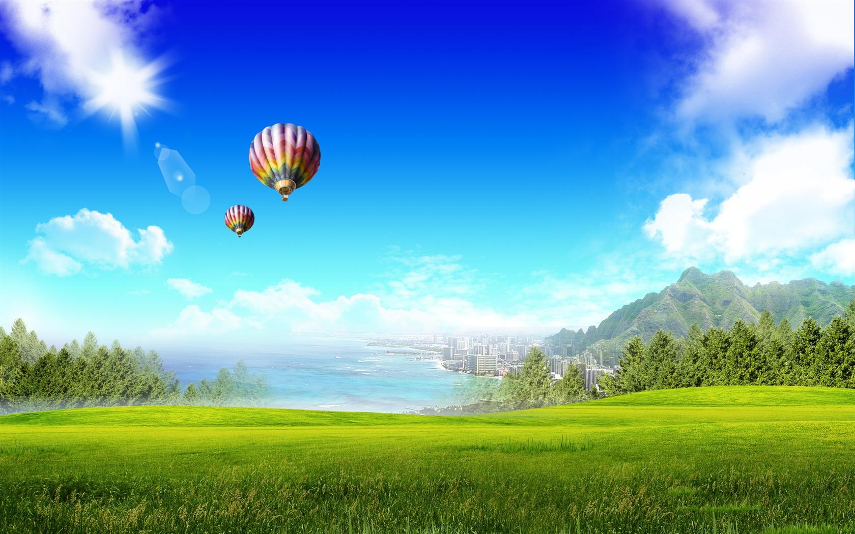 Photoshop fond d 39 cran paysage d 39 t ensoleill e 2 7 for Fond ecran ete paysage