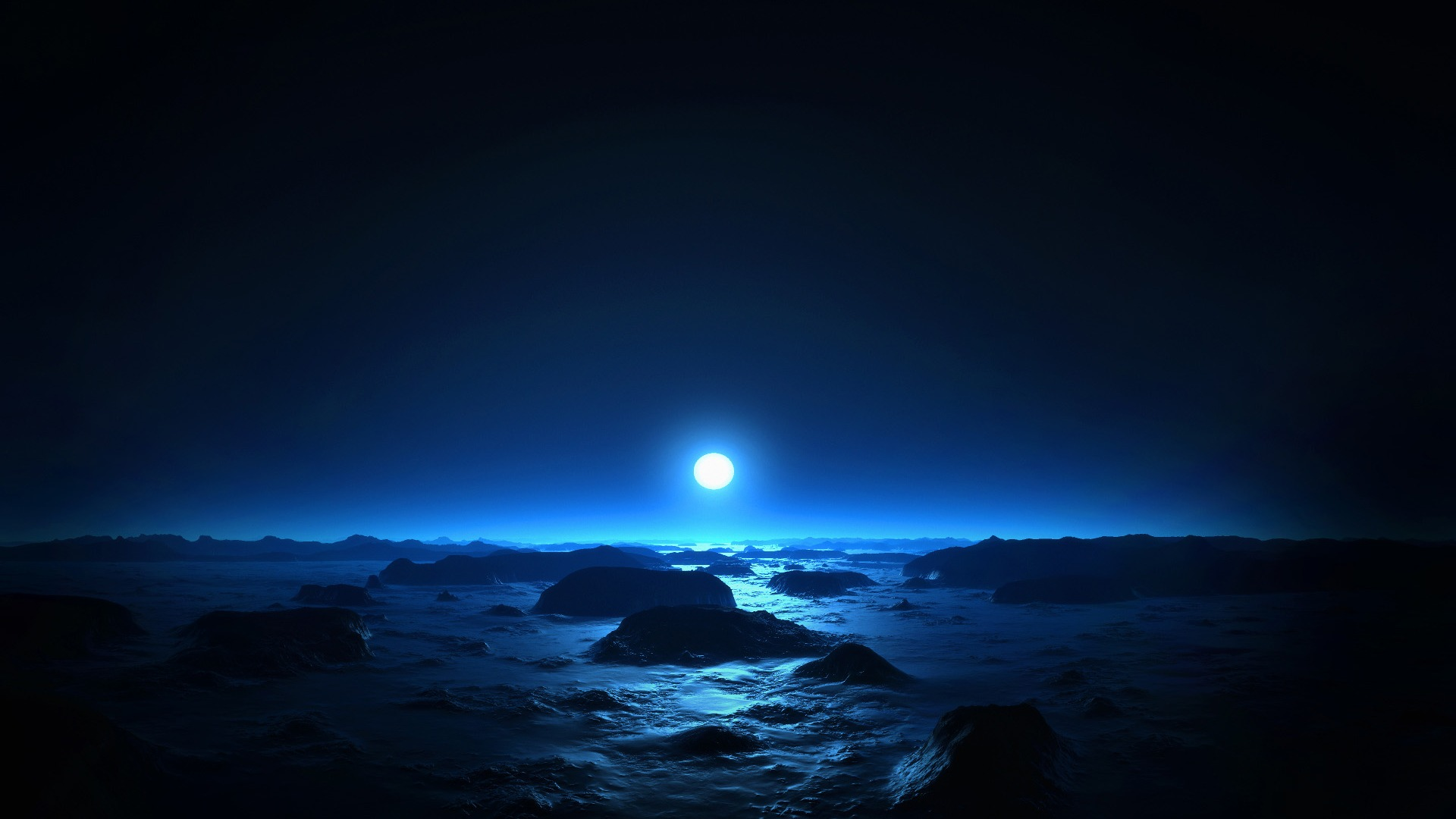 Blue Moon at Night Background