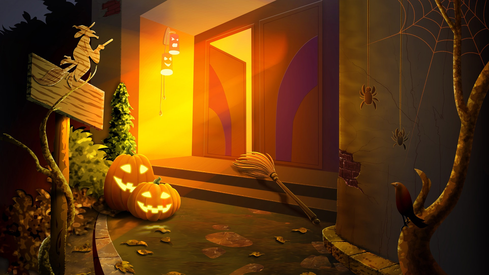 Fonds d 39 cran th me de l 39 halloween 4 8 1920x1080 fond for Theme d ecran