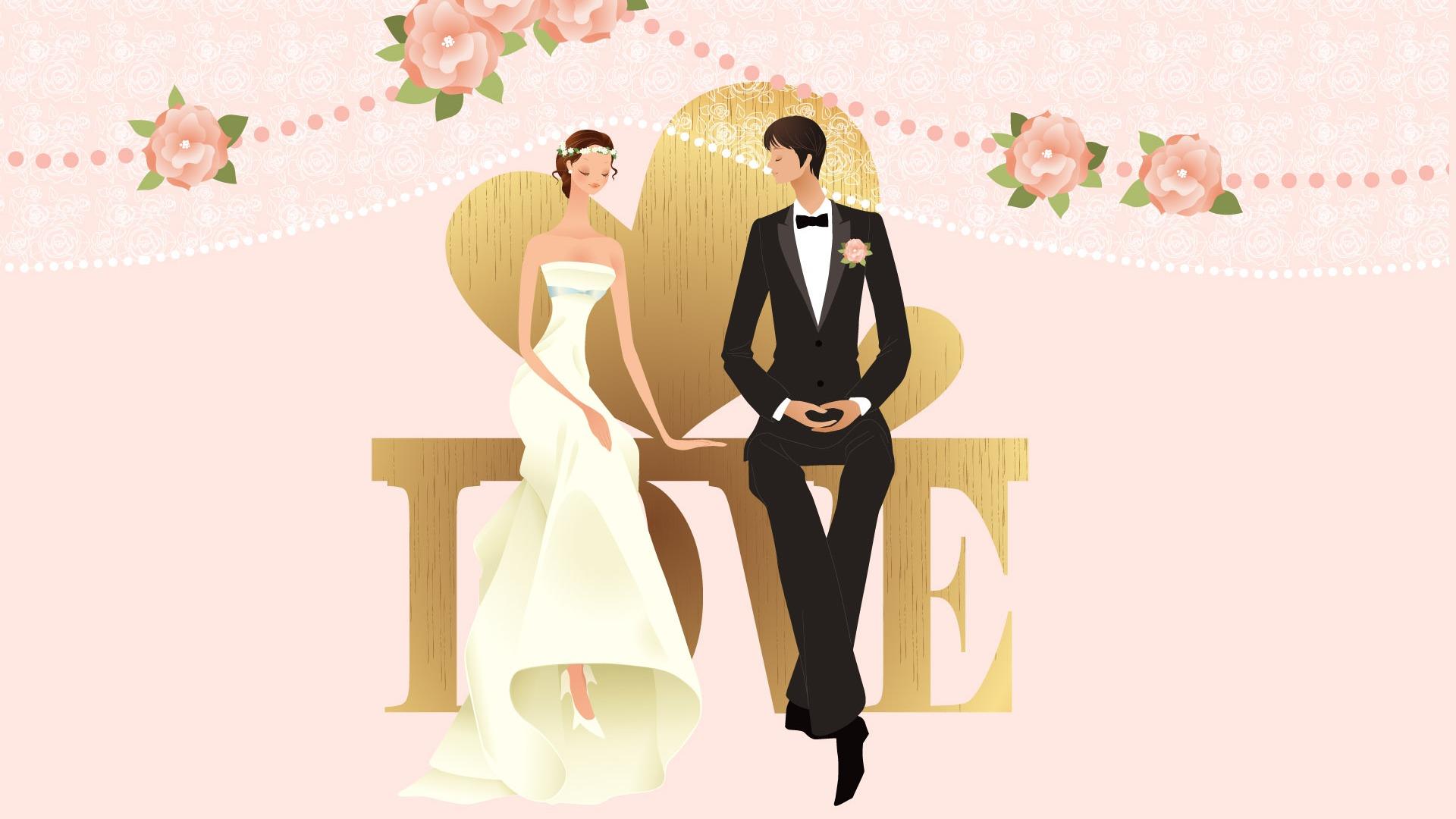 Свадебный рисунок на открытку