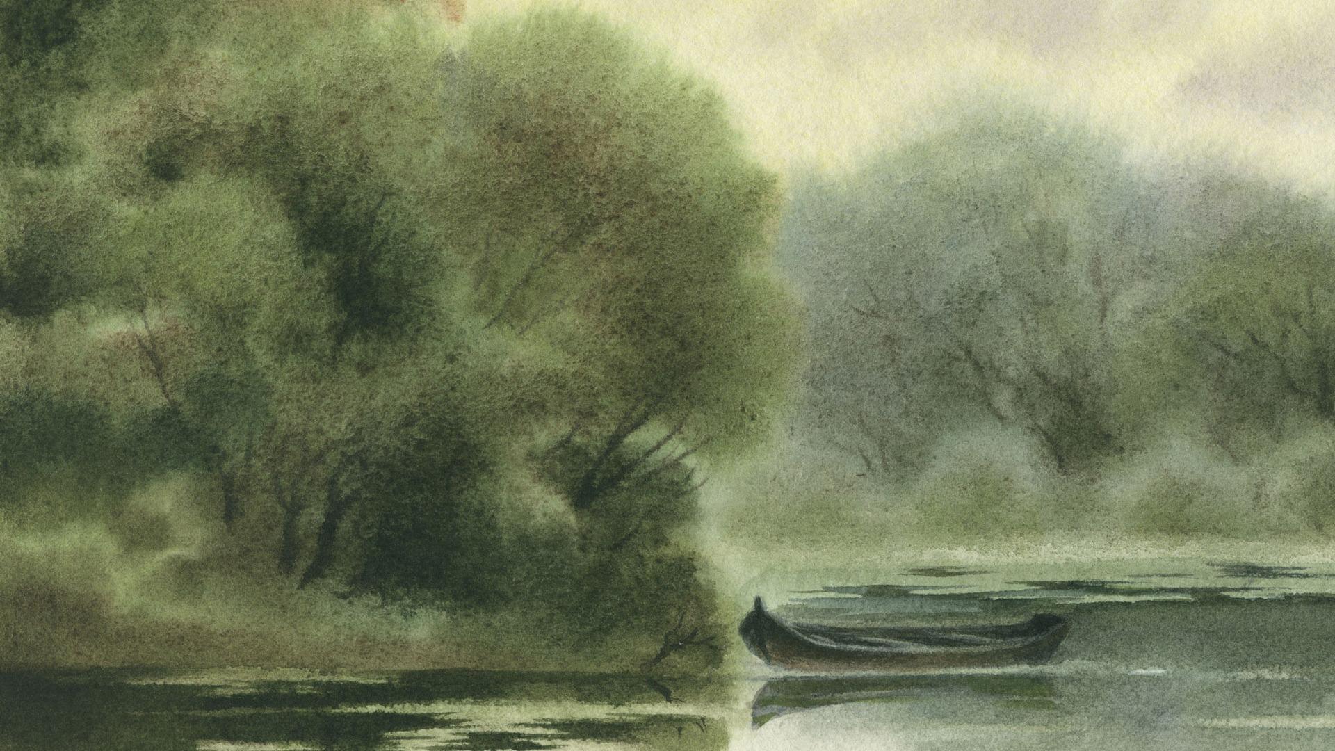 Акварель пейзаж расписанные вручную