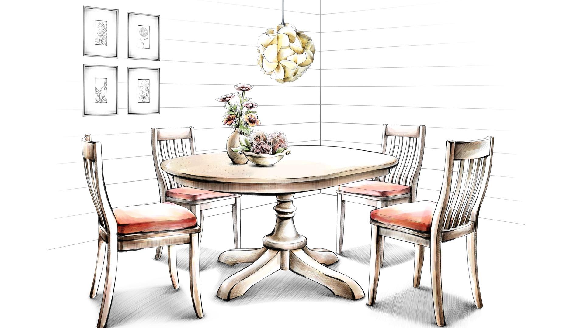 Интерьер, графика, рисунок, проект, мебель, белый фон - #646.