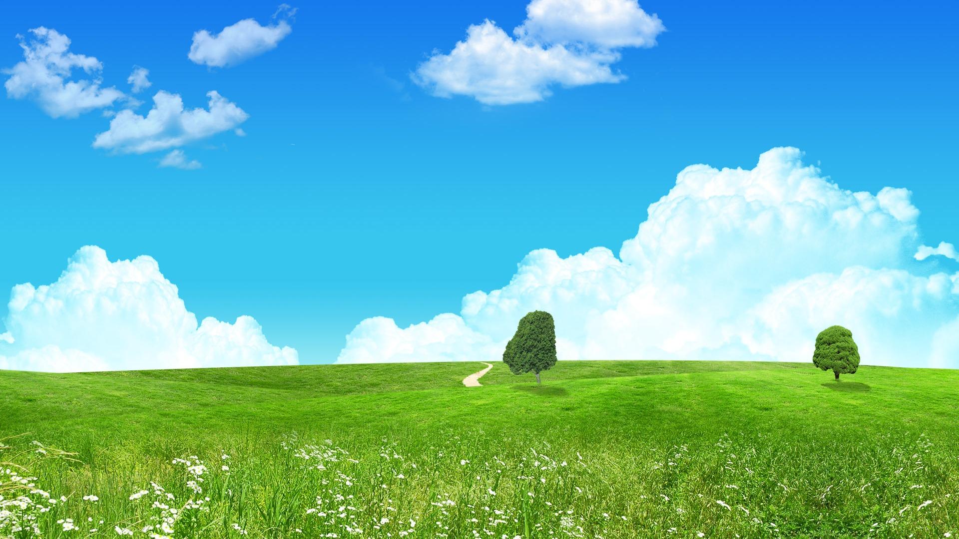 Photoshopの日当たりの良い夏の風景の壁紙 2 10 1920x1080 壁紙ダウンロード