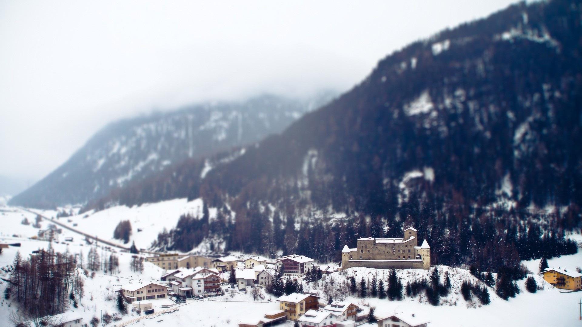 Winter Schnee Berge Seen Baume Strassen Hd Wallpaper 16