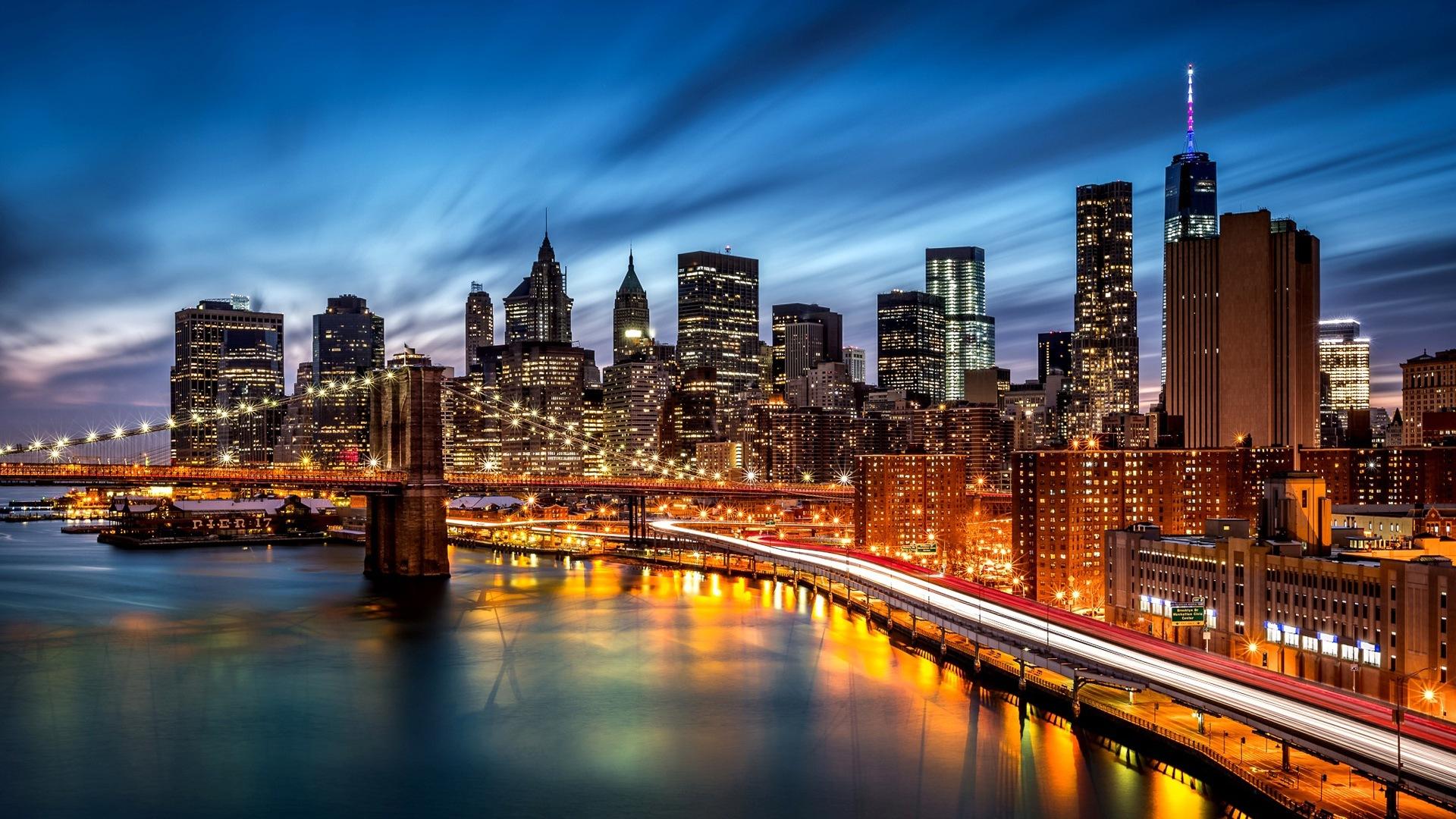 Empire State Building à New York Ville La Nuit Fonds D