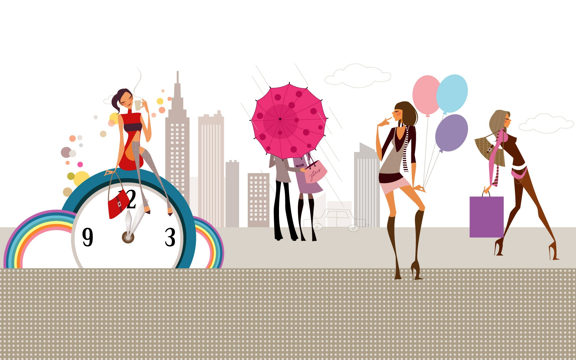 Vector Fashion Girls Wallpaper 1 3