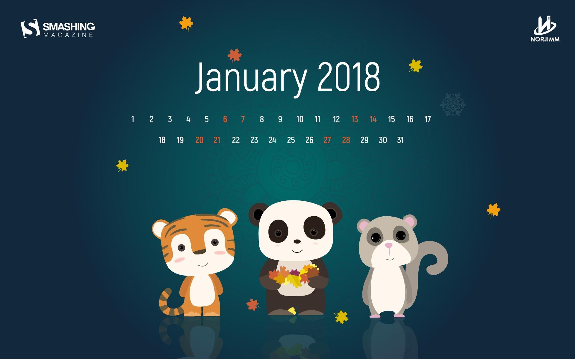 Fondo De Pantalla Del Calendario De Enero De 2018 #11