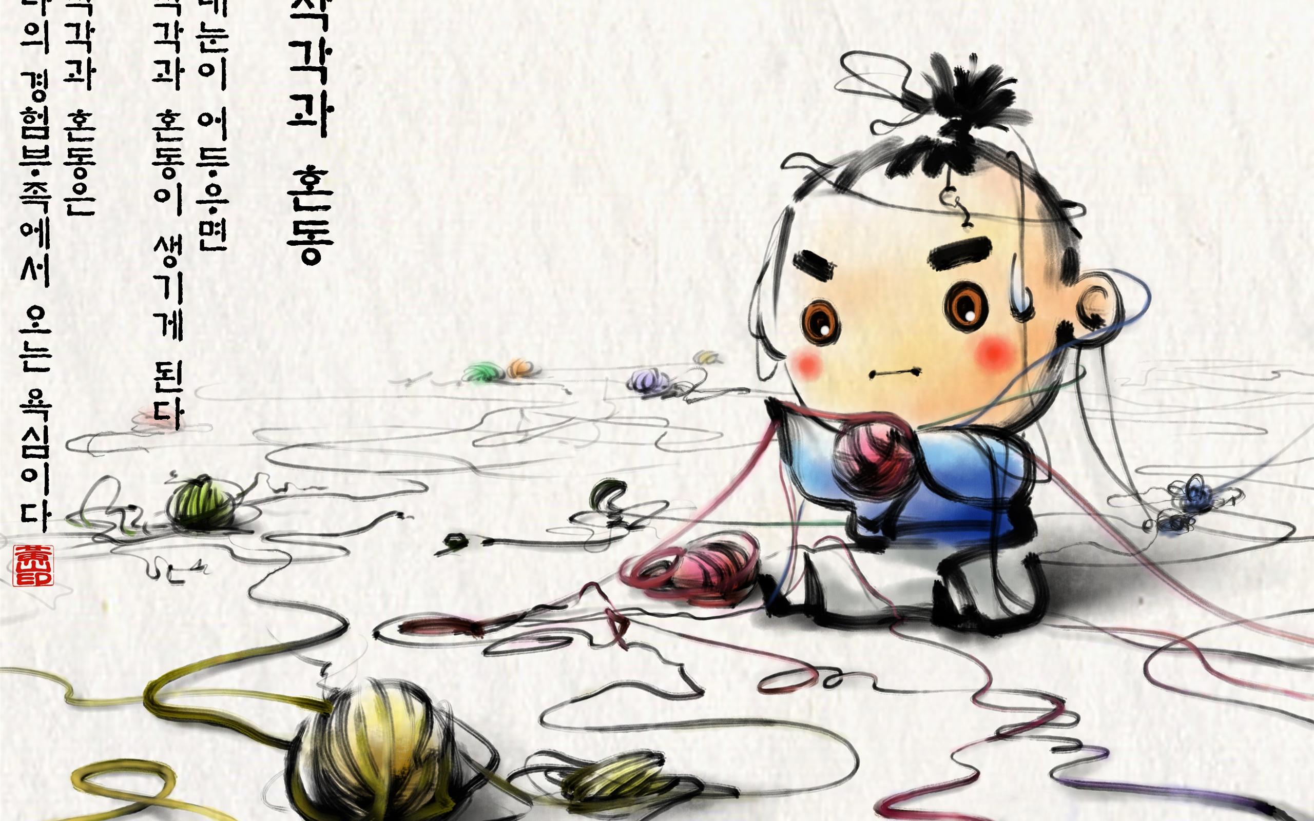 South Korea Ink Wash Cartoon Wallpaper 49 2560x1600 Wallpaper