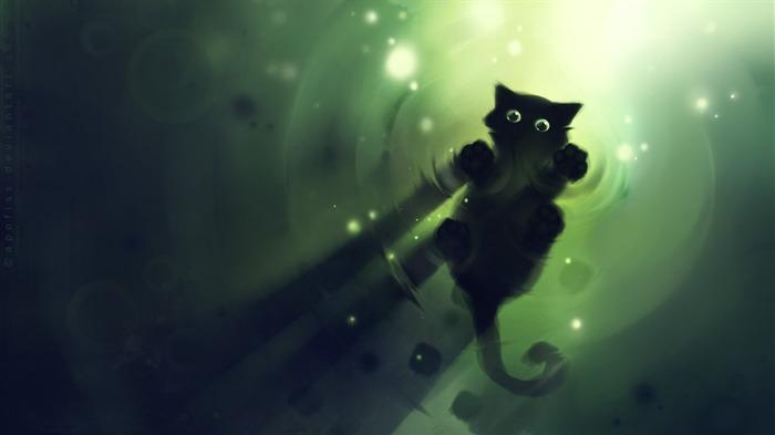 Apofiss malá černá kočka tapety akvarel ilustrací #9