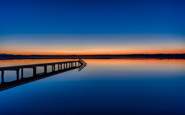 Lago y el paseo marítimo visitas anochecer fondos de pantalla de ...