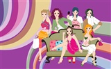 Vector urban women wallpaper (1)