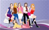 Vector urban women wallpaper (2)