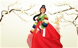 Vector wallpaper of Korean women (2) #11