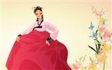 Vector wallpaper of Korean women (2) #12