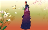 Vector wallpaper of Korean women (2) #13
