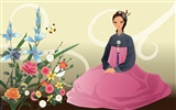 Vector wallpaper of Korean women (2) #17