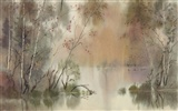 Watercolor landscape hand-painted wallpaper (2) #18