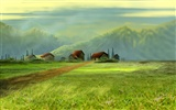 Colorful hand-painted wallpaper landscape ecology (3) #13