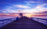 Coast pier at dusk scenery HD wallpaper